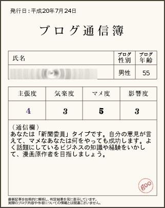 「ブログ通信簿サービス」