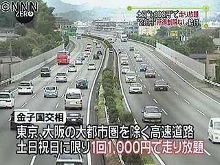 休日の高速は1回1000円に