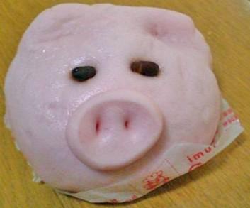 ピンクの可愛い豚まん 食べれましぇーん