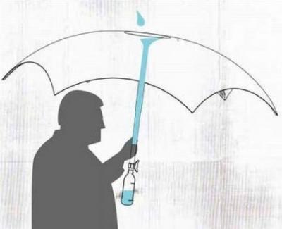 雨水を飲めるようにする傘